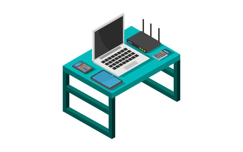 Escritorio de oficina isométrica - imagen vectorial