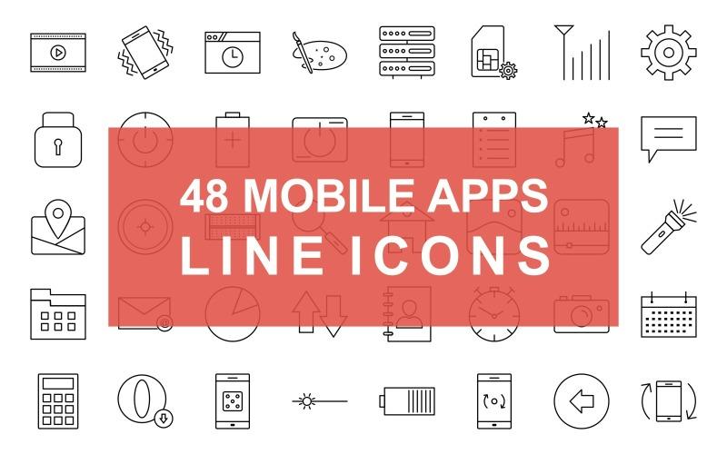 Ficha de teléfono y línea de configuración Conjunto de iconos negros