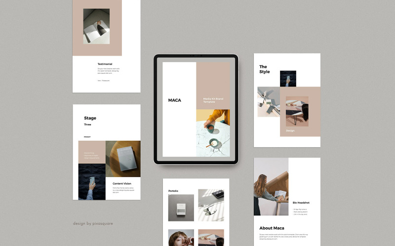 MACA - Plantilla de PowerPoint A4 Vertical Media / Press Kit
