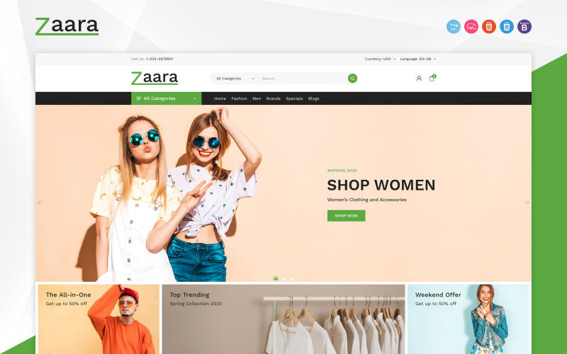 Zaara - Fashion Store OpenCart Template