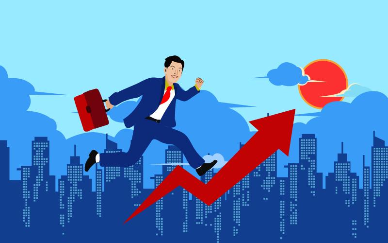 Business Grow Up Flat - Ilustración