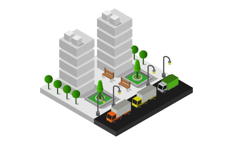 Ciudad isométrica en blanco - imagen vectorial