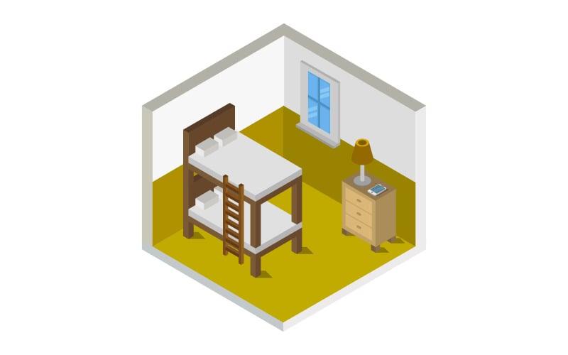 Dormitorio isométrico - imagen vectorial