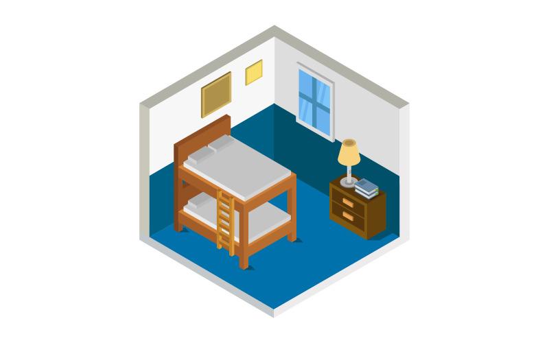 Dormitorio isométrico sobre fondo blanco - imagen vectorial