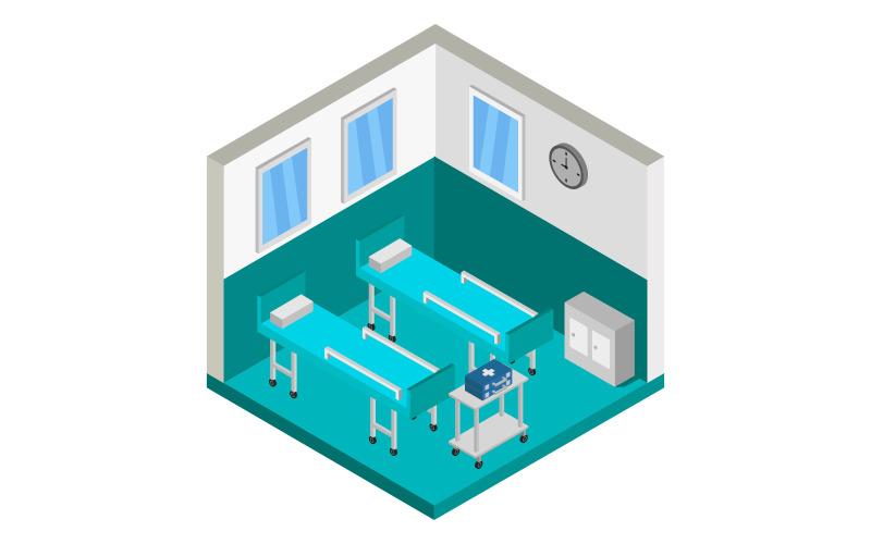 Habitación de hospital isométrica - imagen vectorial