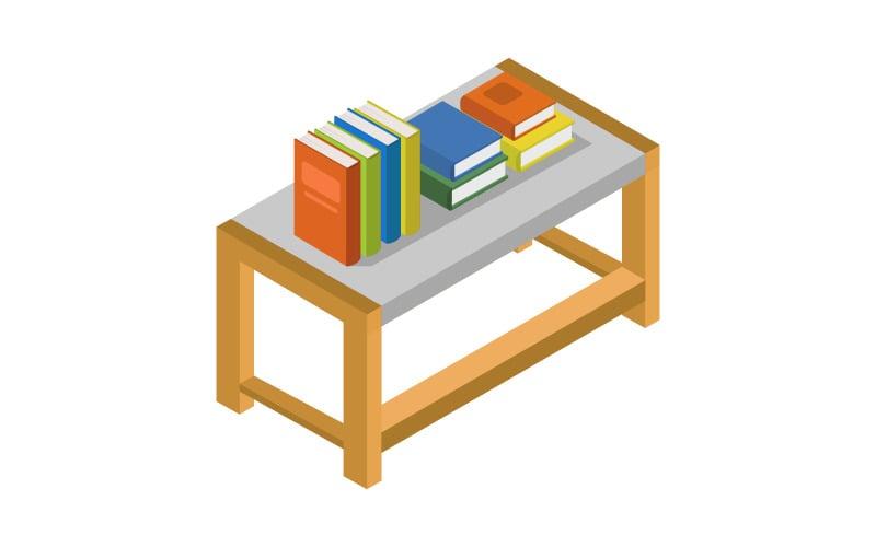 Mesa isométrica con libros - imagen vectorial