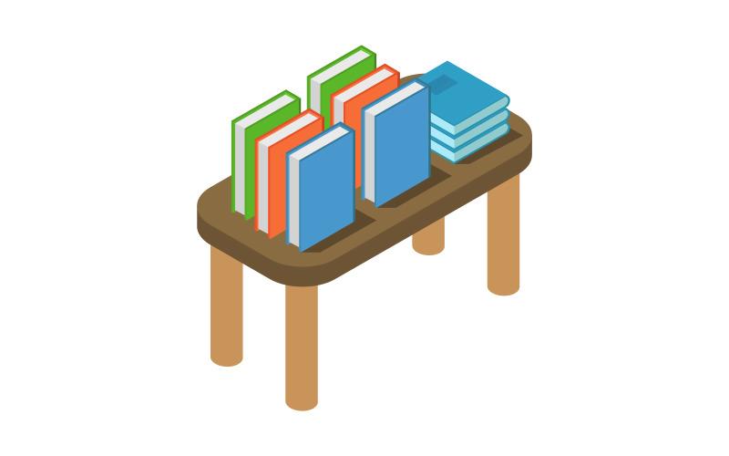 Mesa isométrica con libros sobre fondo blanco - imagen vectorial