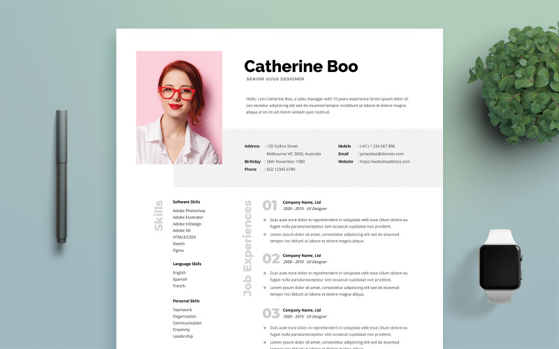 Plantilla de CV para mujer profesional
