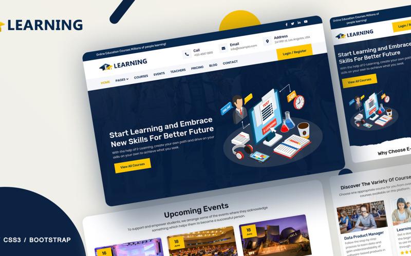 Plantilla de sitio web de cursos en línea de e-learning