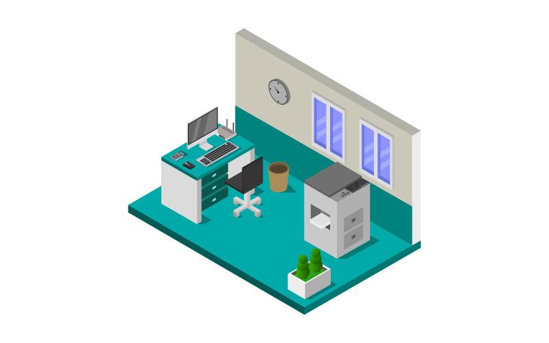 Sala de oficina isométrica sobre fondo blanco - imagen vectorial