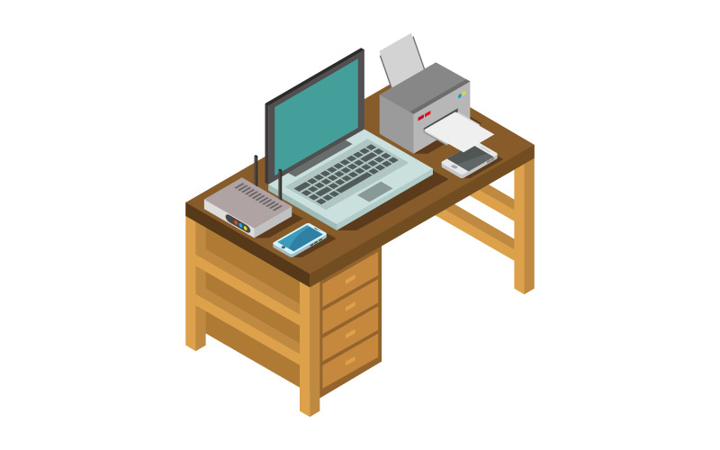 Isometric Office Desk On A White Background - Vector Image