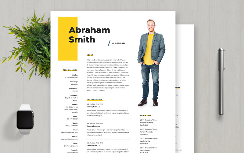 Abraham Smith Ux Designer Resume Template 107916