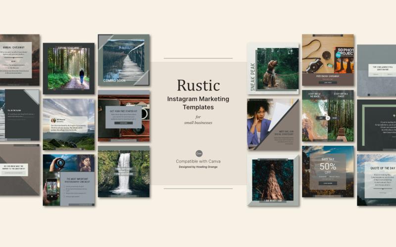Rustic Instagram Marketing Template Kit for Social Media