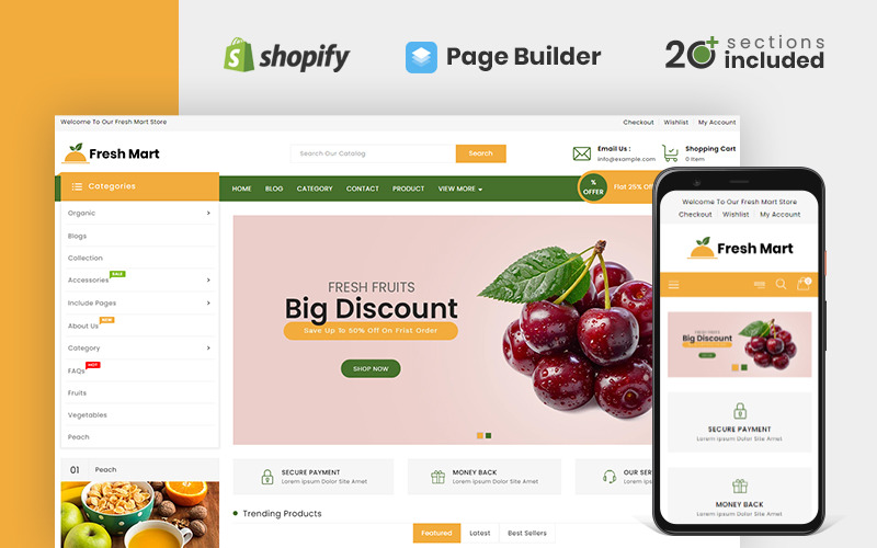 FreshMart Organic & Grocery Store Shopify Teması