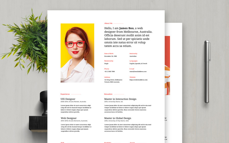 James Boo   Web Designer Professional and Clean Resume Template