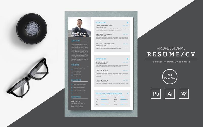 Чистый и креативный шаблон резюме для веб-разработчика