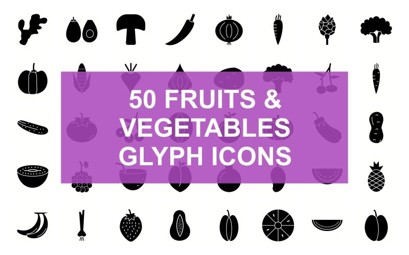 Фрукты и овощи Glyph Black Set Icon