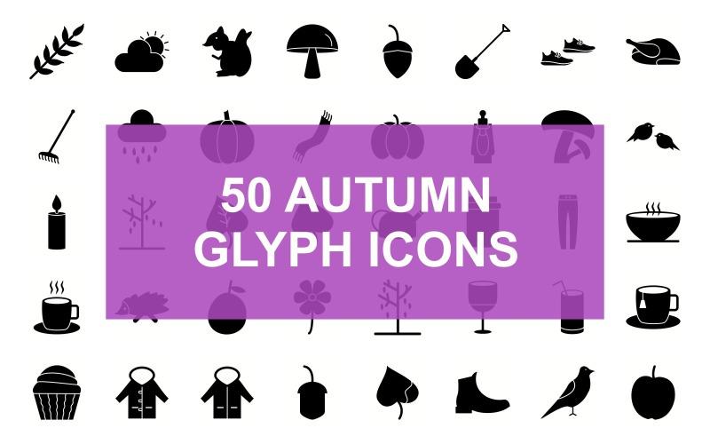 Осенний символ черный набор иконок