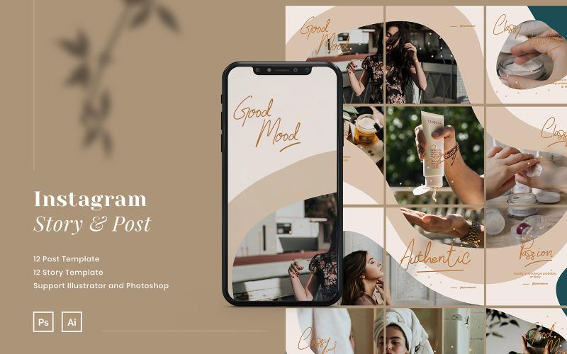Пазл Instagram Story и шаблон сообщения для социальных сетей