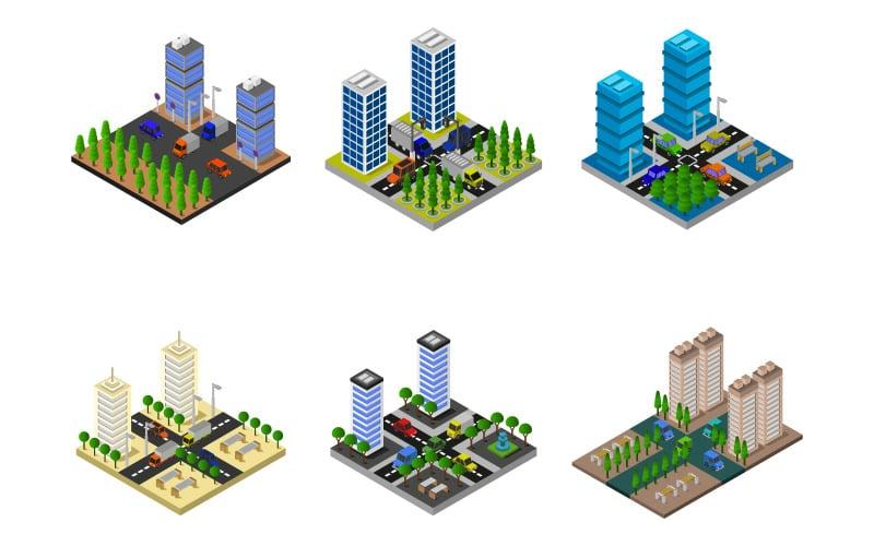Изометрические город набор - векторное изображение