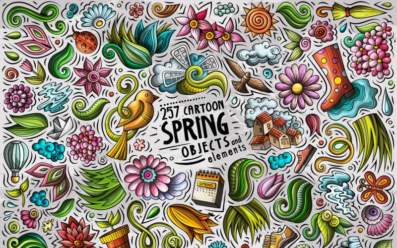 Набор объектов мультфильм Весна - векторное изображение