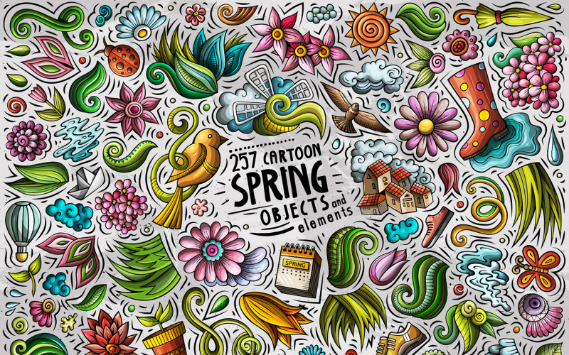 Spring Cartoon Objects Set - Vector Image
