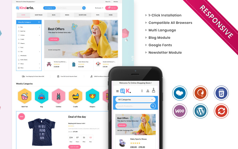 Kinderia - motyw WooCommerce Mega Kids Fashion Store