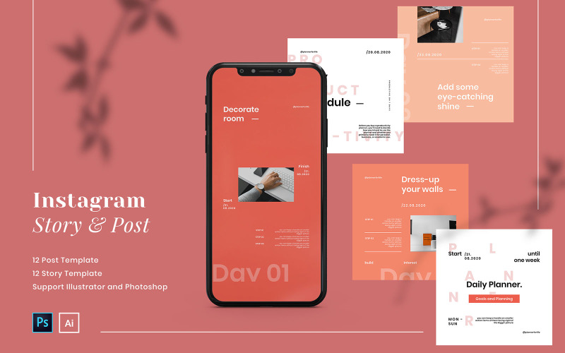 Productivity Planner Instagram Post and Story Social Media Template