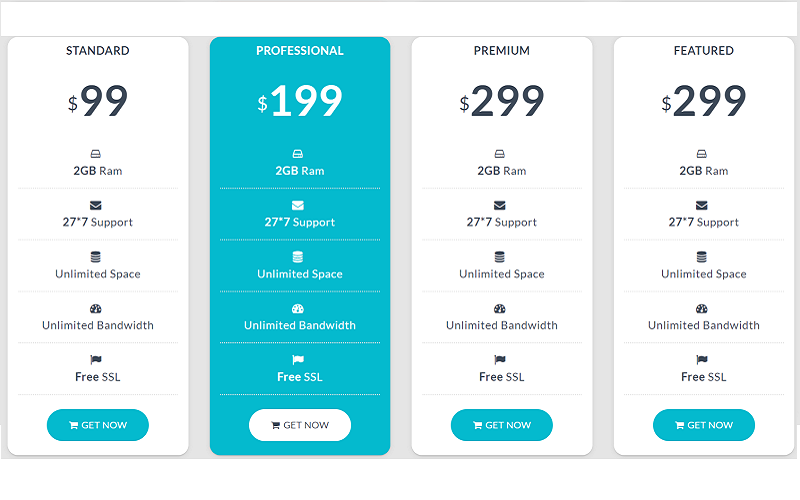 Pricing Table Specialty Page