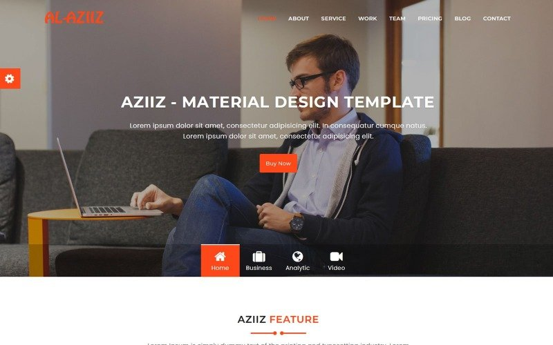 Aziiz - Material Design Agency Landing Page Template