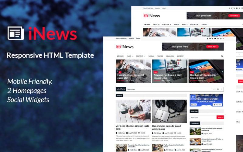iNews - Responsive Newspaper HTML Website Template