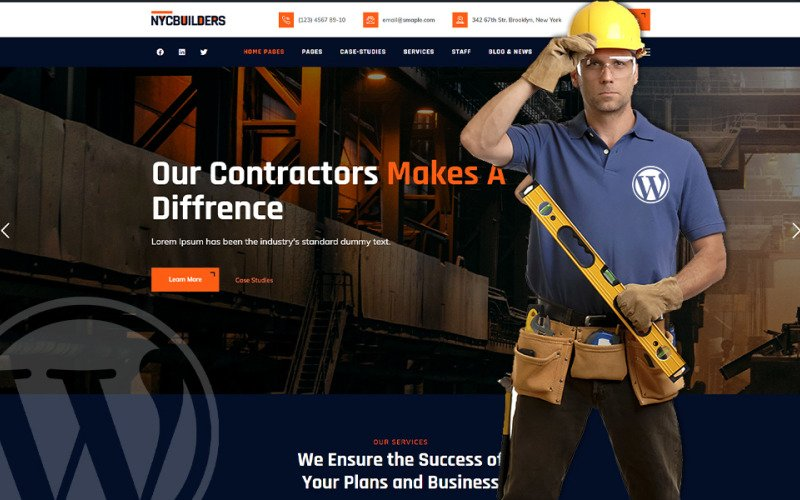 Будівельники Нью-Йорка - Тема WordPress для будівництва будівель