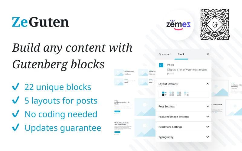 Plugin ZeGuten Gutenberg pour créer un site Web compétitif