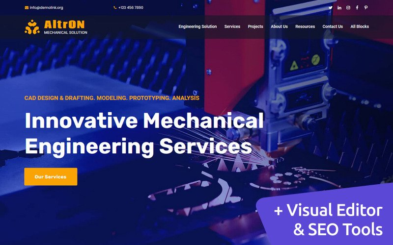 AltrON - Engineering MotoCMS Landing Page Template