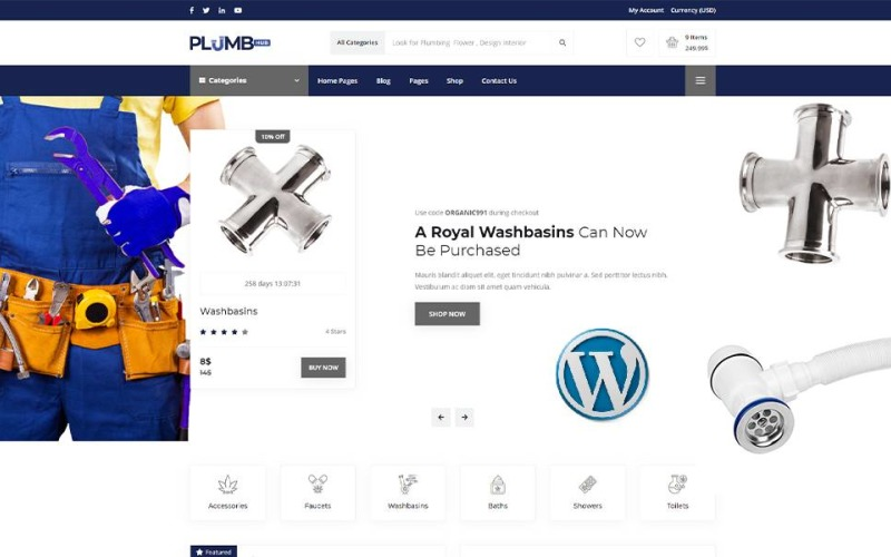 Plumbing Hub -  Plumbing Shop WordPress Theme