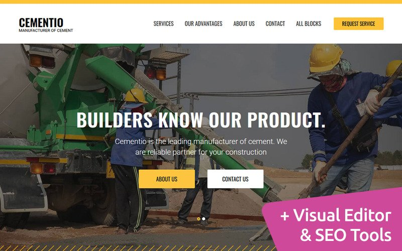 Cement Company MotoCMS Landing Page Template