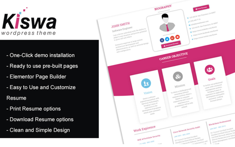 Kiswa- Parallax Resume WordPress Theme