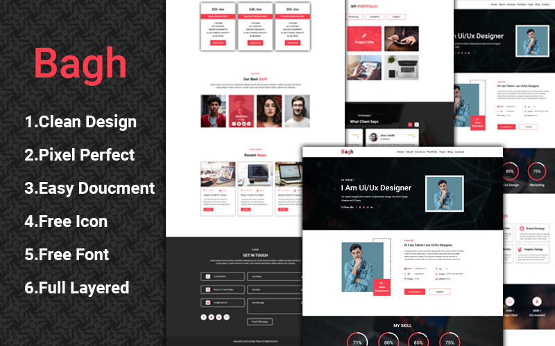 Bagh One Page PSD Template