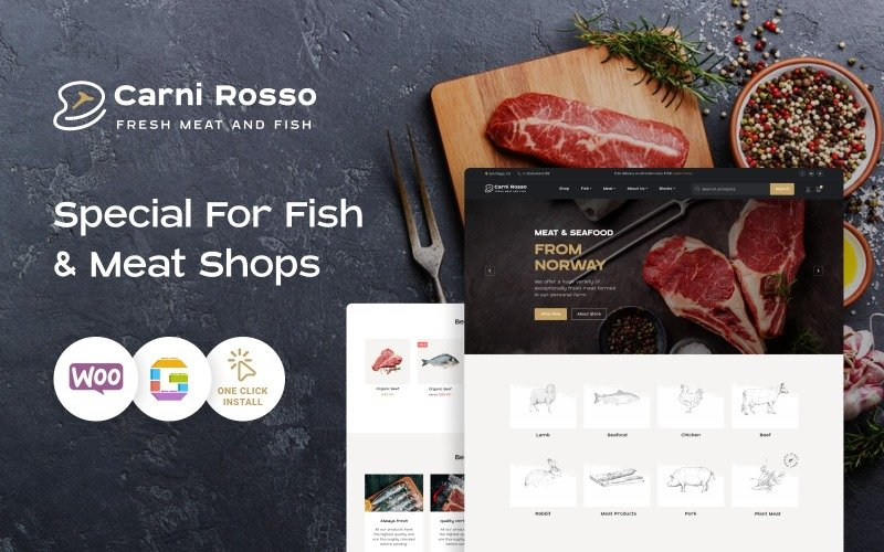 Fish and Meat WooCommerce Theme - Carni Rosso