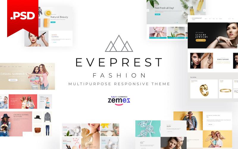 Šablona PSD Eveprest pro víceúčelové módní webové stránky