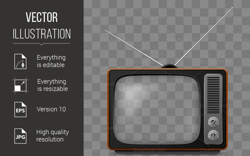 Ретро телевизор - векторное изображение