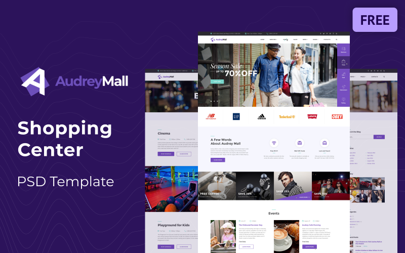 Audrey Mall - Shopping Center, Entertainment Store Free PSD Template