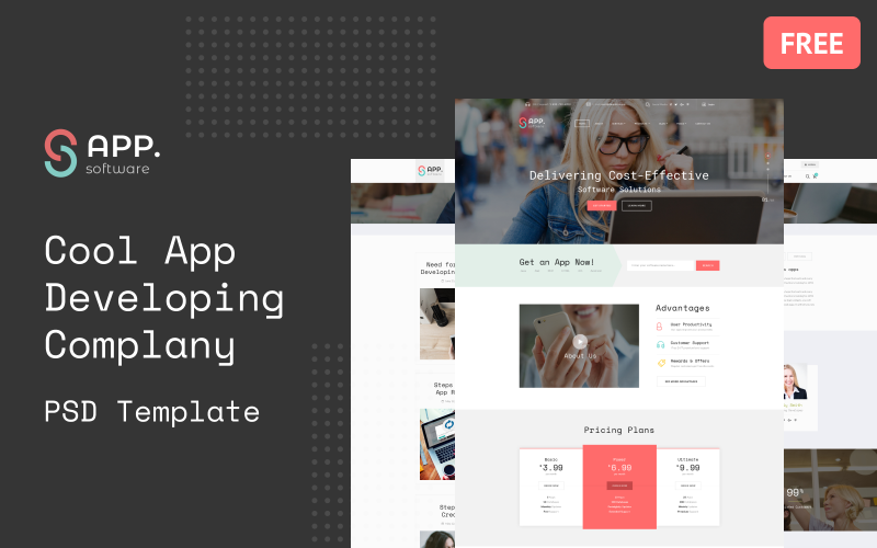 Sapp Software - Cool App Developing Complany Multipage Free PSD Template