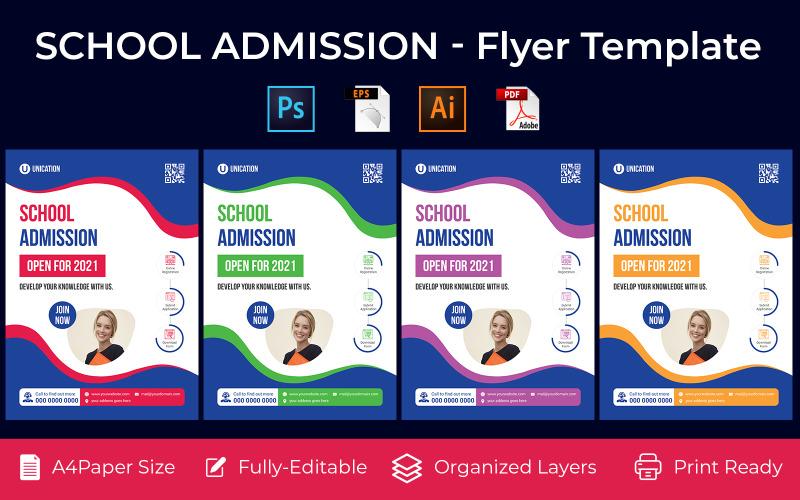 School Admission promotion flyer PSD, AI design volume-4