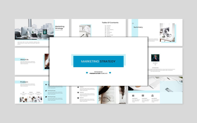 Marketing Strategy - Creative Business Pitch Deck PowerPoint template