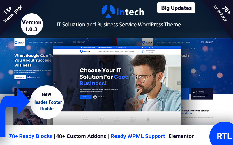 Intech - IT Solution And Technology Services WordPress Theme