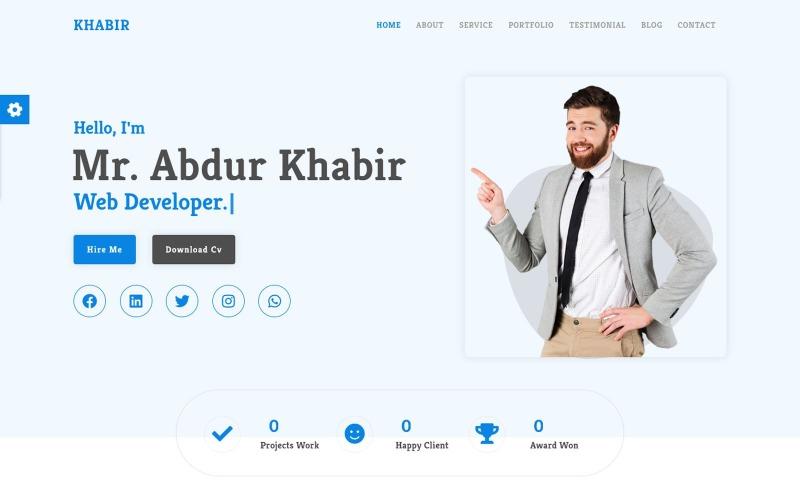 Al-Khabir - Creative Portfolio CV/Resume Landing Page Template