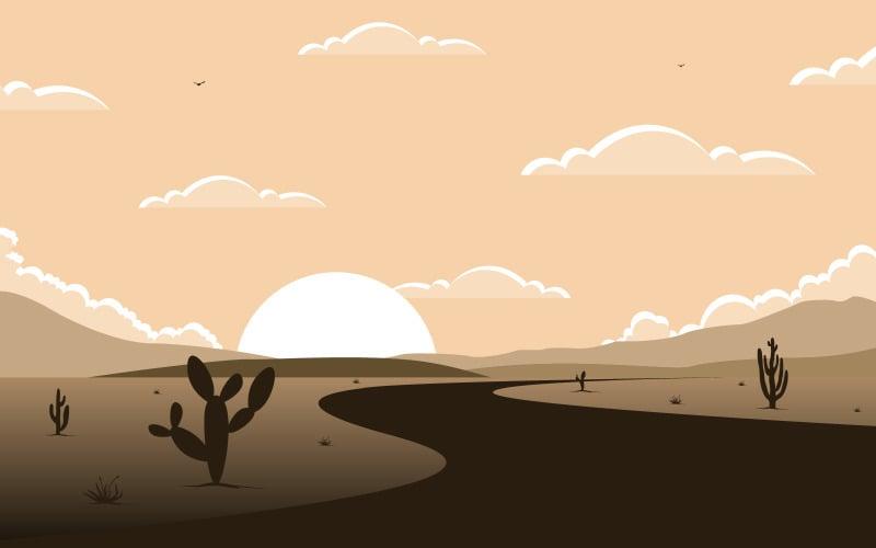 Vast Western American Desert with Cactus - Illustration