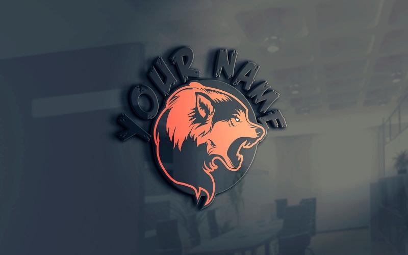 Шаблон логотипа животных талисман волк