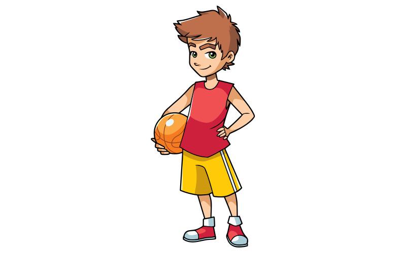 Basketbal jongen op wit - illustratie